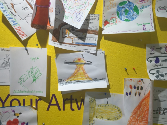 Children's drawings on display at the National Museum of Nuclear Science & History in Albuquerque, NM. Photo by Lita Hakoda